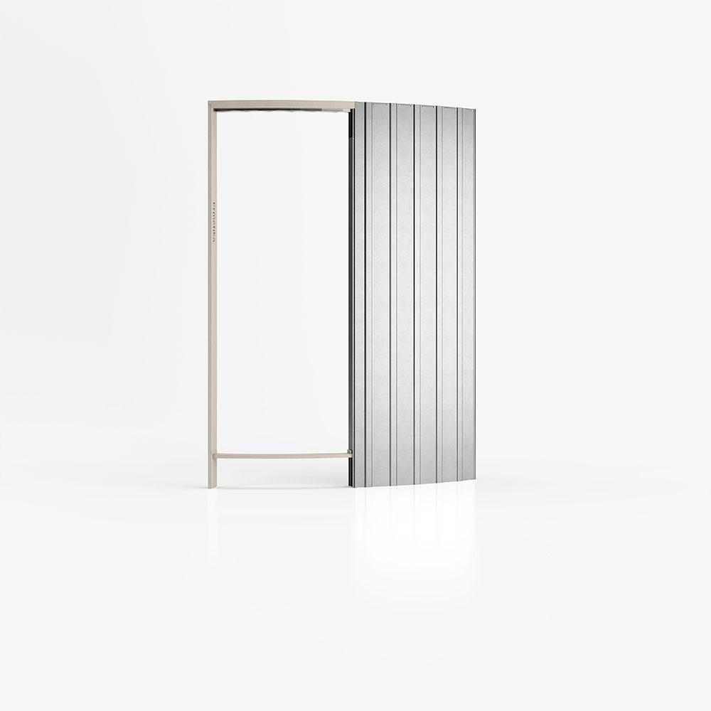Controtelaio curvo per cartongesso con una porta scorrevole