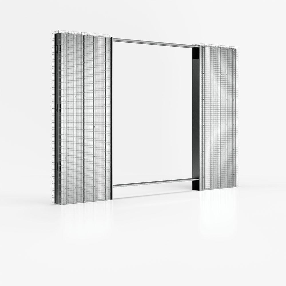 Luminox - controtelaio di Ermetika per pareti in intonaco con canalina per cassette elettriche
