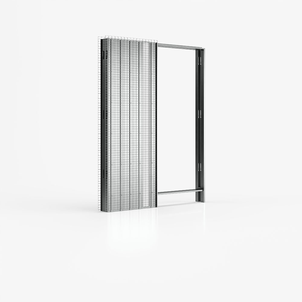 Controtelaio per intonaco di Ermetika per porte scorrevoli a scomparsa con punti luce