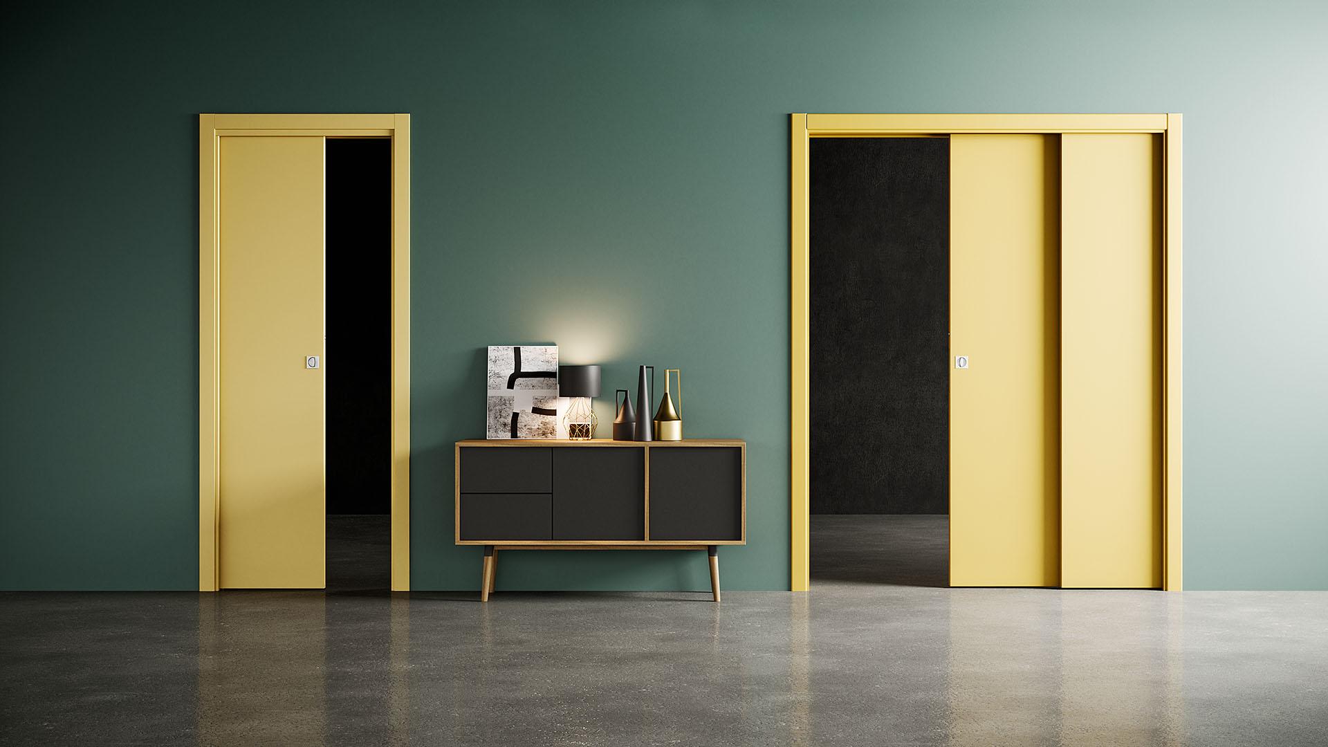 Velio Staffetta - Porta scorrevole classica con mostrine per grandi aperture