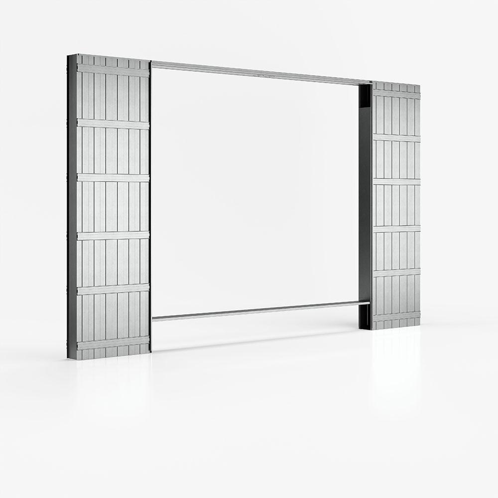 Controtelaio di Ermetika per due porte scorrevoli e parete in cartongesso con porte sovrapposte