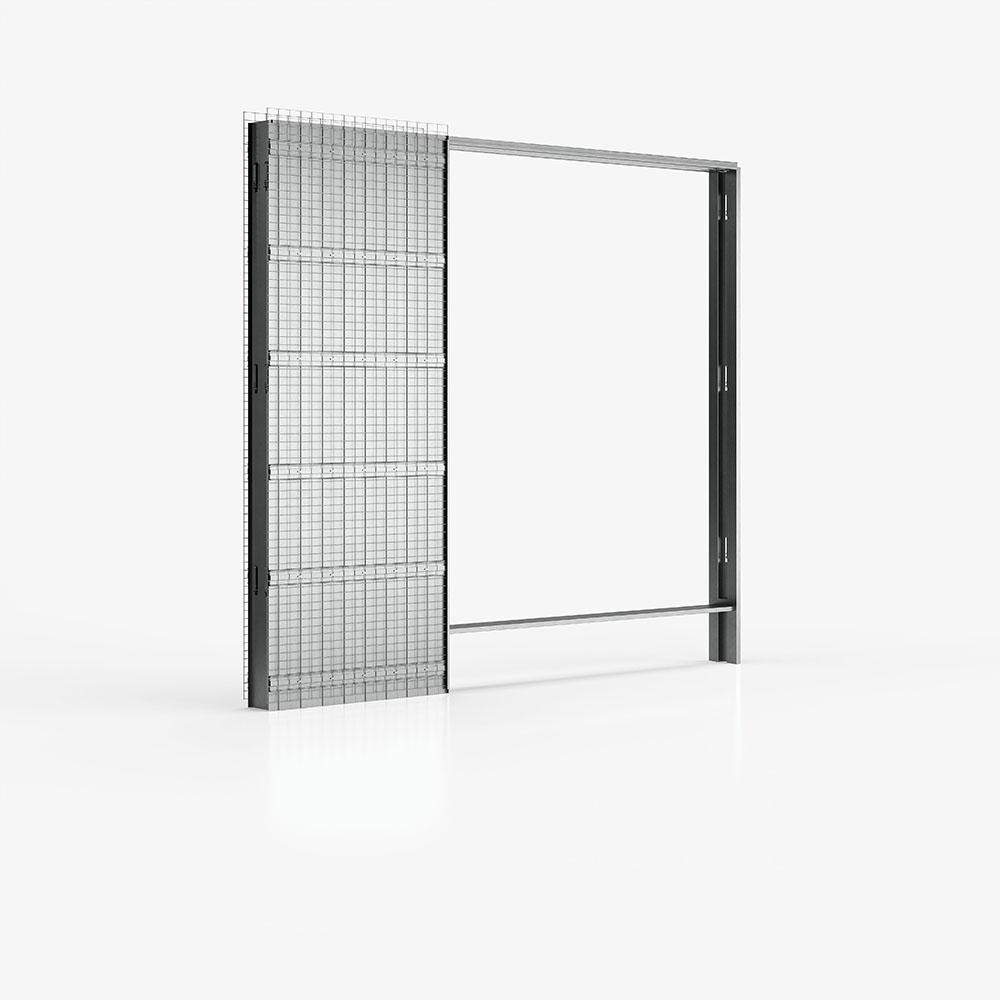 Controtelaio di Ermetika per due porte scorrevoli e parete in intonaco con porte sovrapposte