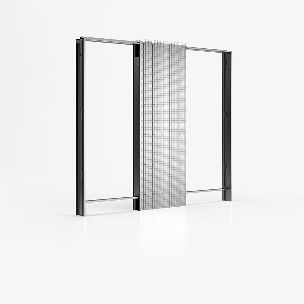 Controtelaio di Ermetika per pareti in intonaco con due porte a scomparsa\